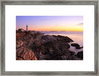 Portland Head Lighthouse Seascape Framed Print by Roupen  Baker