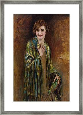 Portrait Of A Girl With A Green Shawl Framed Print by Isaac Cohen