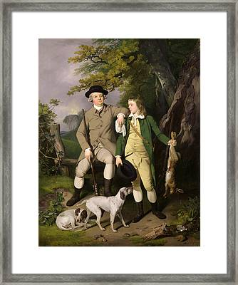 Portrait Of A Sportsman With His Son Framed Print by Francis Wheatley