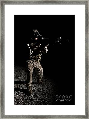 Portrait Of A U.s. Marine In Northern Framed Print by Terry Moore