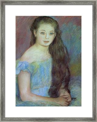 Portrait Of A Young Girl With Blue Eyes Framed Print by Pierre Auguste Renoir