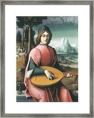 Portrait Of A Young Man With A Lute Framed Print by Bachiacca