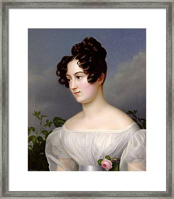 Portrait Of A Young Woman Framed Print by  Franz Seraph Stirnbrand