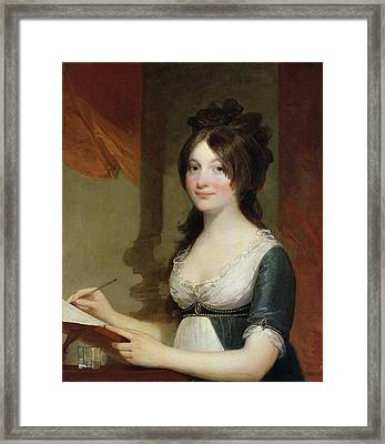 Portrait Of A Young Woman Framed Print by Gilbert Stuart
