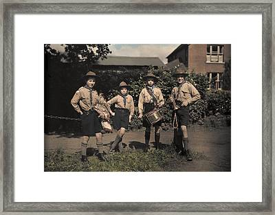 Portrait Of Boy Scouts At Abinger Framed Print by Clifton R. Adams