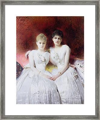 Portrait Of Marthe And Terese Galoppe Framed Print by Leon Joseph Bonnat