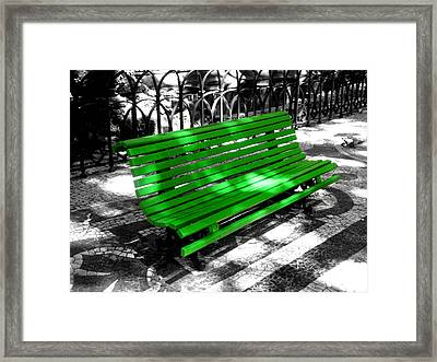 Selective Coloring Framed Print featuring the photograph Portuguese Bench by Roberto Alamino