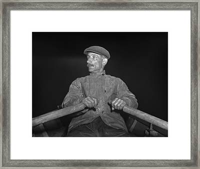 Portuguese Dory Fisherman Rowing Framed Print by Everett