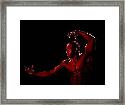 Posing Red Man Framed Print by Val Black Russian Tourchin