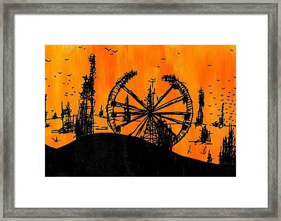 Post Apocalyptic Carnival Skyline Framed Print by Jera Sky