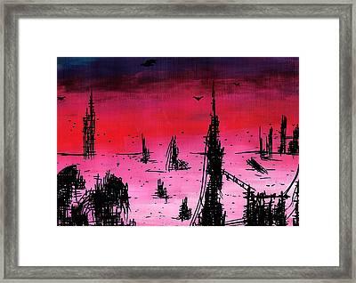 Post Apocalyptic Desolate Skyline Framed Print by Jera Sky