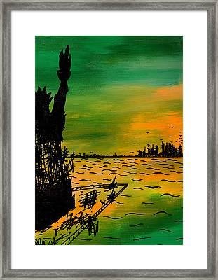 Post Apocalyptic New York Skyline Framed Print by Jera Sky