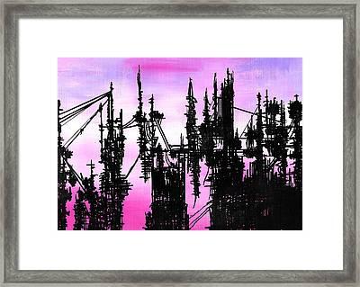 Post Apocalyptic Skyline Framed Print by Jera Sky