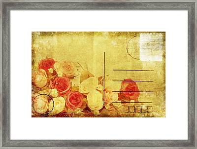 Postcard With Floral Pattern Framed Print by Setsiri Silapasuwanchai
