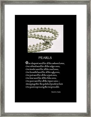 Poster Poem - Pearls Framed Print by Poetic Expressions