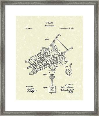 Potato Planter 1864 Patent Art Framed Print by Prior Art Design