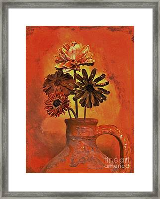 Pottery With Dried Flowers Framed Print by Marsha Heiken