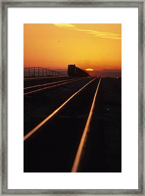 Powder River Sunset Caboose Framed Print by Susan  Benson