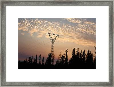 Power Tower And Sunset, Wood Buffalo Framed Print by Raymond Gehman