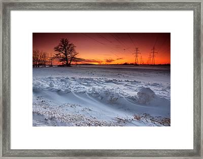 Powerlines In Winter Framed Print by Cale Best