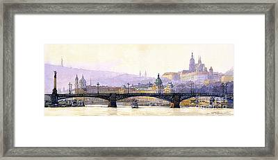Prague Panorama Cechuv Bridge Variant Framed Print by Yuriy  Shevchuk