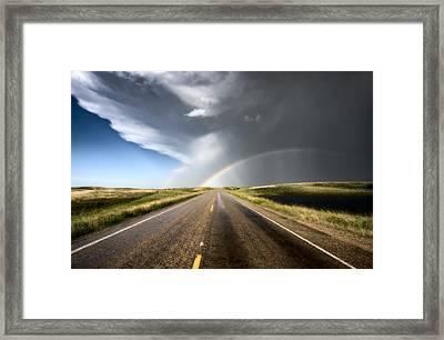 Prairie Hail Storm And Rainbow Framed Print by Mark Duffy