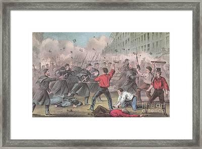 Pratt Street Riot, 1861 Framed Print by Photo Researchers