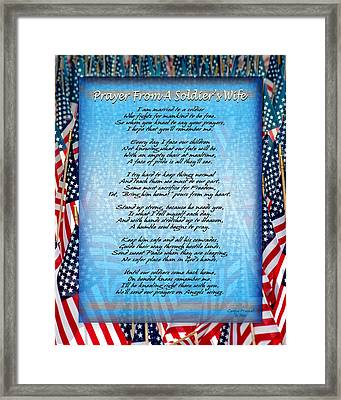 Prayer From A Soldiers Wife Framed Print by Carolyn Marshall