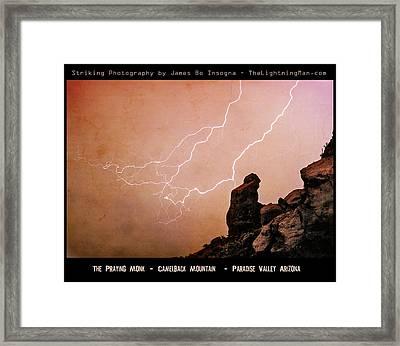 Praying Monk Camelback Mountain Lightning Monsoon Storm Image Tx Framed Print by James BO  Insogna
