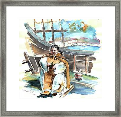 Preaching The Bible On The Conquistadores Boat In Vila Do Conde In Portugal Framed Print by Miki De Goodaboom