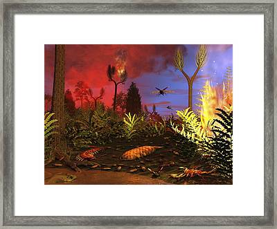 Prehistoric Forest Fire, Artwork Framed Print by Walter Myers