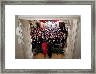 President And Michelle Obama Address Framed Print by Everett
