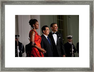 President And Michelle Obama Welcome Framed Print by Everett