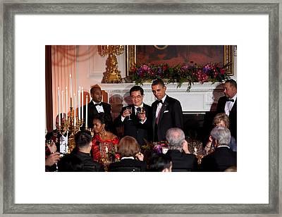President Barack Obama And President Hu Framed Print by Everett