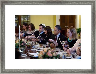 President Barack Obama And The First Framed Print by Everett