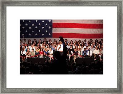 President Barack Obama Answers Framed Print by Everett