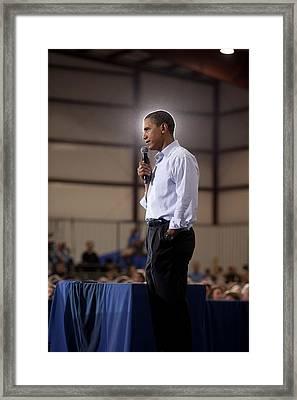 President Barack Obama At A Town Hall Framed Print by Everett
