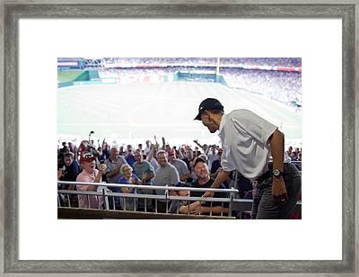 President Barack Obama Greets Baseball Framed Print by Everett