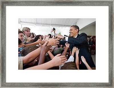 President Barack Obama Greets Young Framed Print by Everett