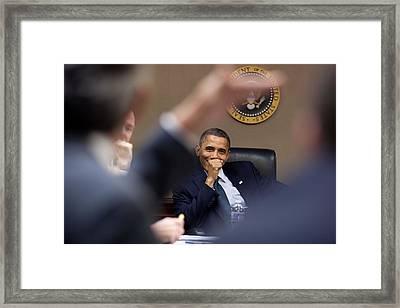 President Barack Obama Laughs Framed Print by Everett