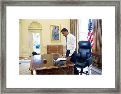 President Barack Obama On His First Framed Print by Everett