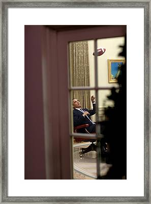 President Barack Obama Plays Framed Print by Everett