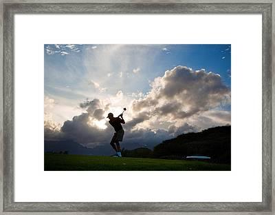 President Barack Obama Plays Golf Framed Print by Everett