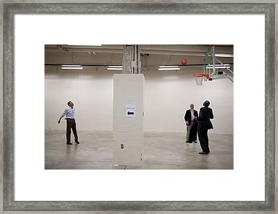 President Barack Obama Shoots Baskets Framed Print by Everett