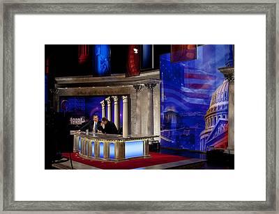 President Barack Obama Tapes An Framed Print by Everett