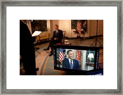 President Barack Obama Tapes The Weekly Framed Print by Everett
