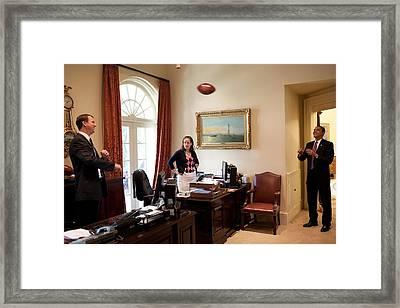 President Barack Obama Tosses Framed Print by Everett