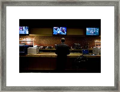 President Barack Obama Watches Framed Print by Everett