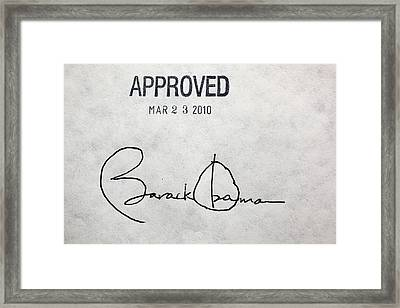 President Barack Obamas Signature Framed Print by Everett