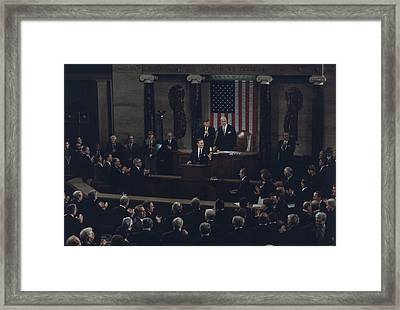 President Bush Addresses A Joint Framed Print by Everett